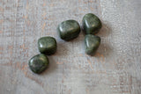 Nephrite Jade Stone, Dark Green Tumbled Stone, 3/4in