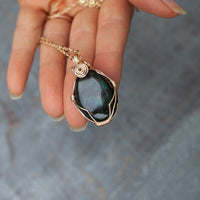 Gorgeous Teal Labradorite Pendant Necklace in 14k Gold Filled Wire Wrap, 20in Chain, Reversible