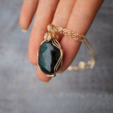 Teal Labradorite Pendant Necklace