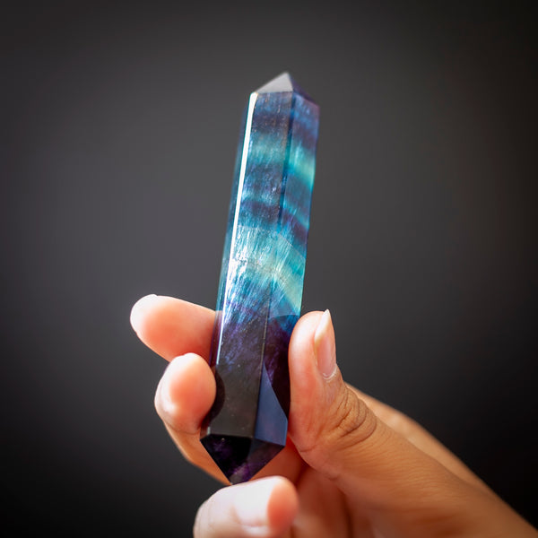 Blue and Purple Striped Fluorite Wand