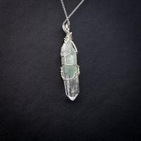 Fuchsite Phantom Quartz Point Pendant Necklace in Sterling Silver | 20 Inch Chain