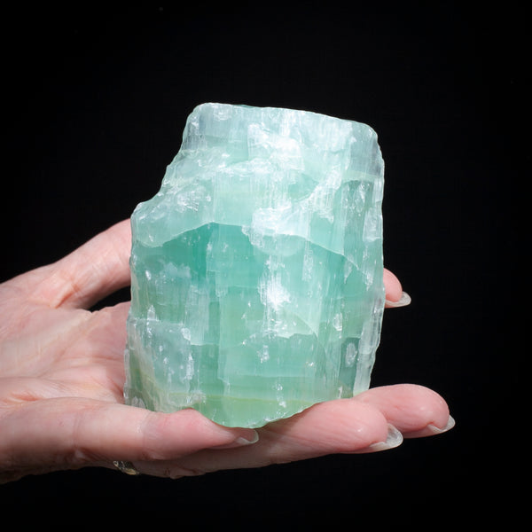 Blue-Green Calcite, Banded Raw Stone, 9oz