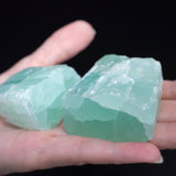 Matching Pair of Blue-Green Calcite, Banded Raw Stones, 10oz