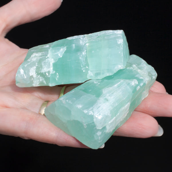 Matching Pair of Blue-Green Calcite, Banded Raw Stones, 7oz