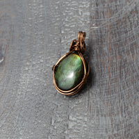 Green Labradorite Pendant in Antique Brass