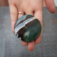 Green Sardonyx Palm Stone with Red Sardonyx Strip and Band of White Quartz
