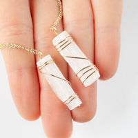 Selenite Pendant Necklace, Gold
