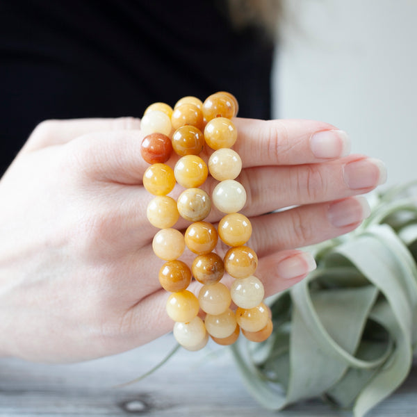 Golden Quartz Bead Bracelet, 10mm