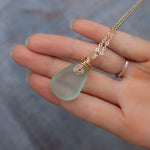 Mint Green Sea Glass Pendant Necklace in 14k Gold Wire Wrapping on 20in Gold Chain