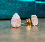 Rainbow Moonstone Stud Earrings, 14k Gold Fill, Teardrop