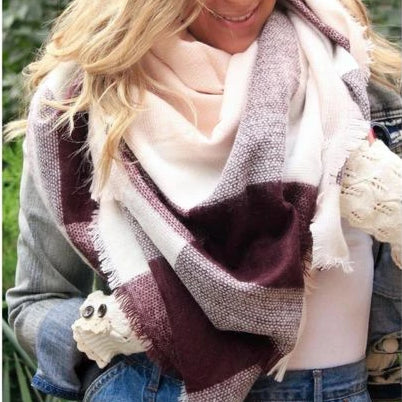 Blanket Scarf, Coffee & Cream