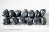 Indigo Gabbro Stone | Grade A, Large Tumbled Stone, Black with Blue