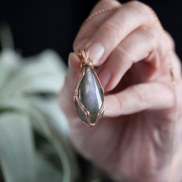 Purple Labradorite Pendant Necklace, 14k Rose Gold, 18in Chain