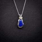 Dainty Lapis Lazuli Pendant Necklace in Sterling Silver