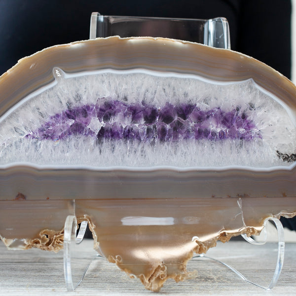 Agate Slice with Amethyst