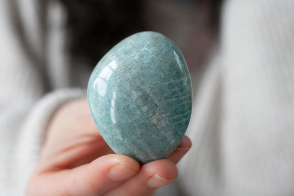 Amazonite Pebble | Large, Minty Green Palm Stone | 2IN