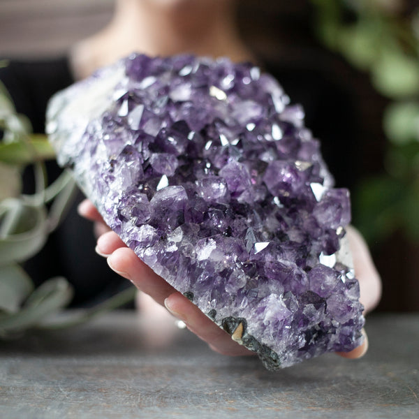 Amethyst Crystal, Large Dark Purple Geode Slab