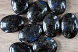 Larvikite Palm Stone, Large Soap Stone with Blue Flash