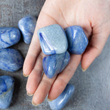 Blue Dumortierite Stone | Large Tumbled Stone with Light and Dark Blue Swirl