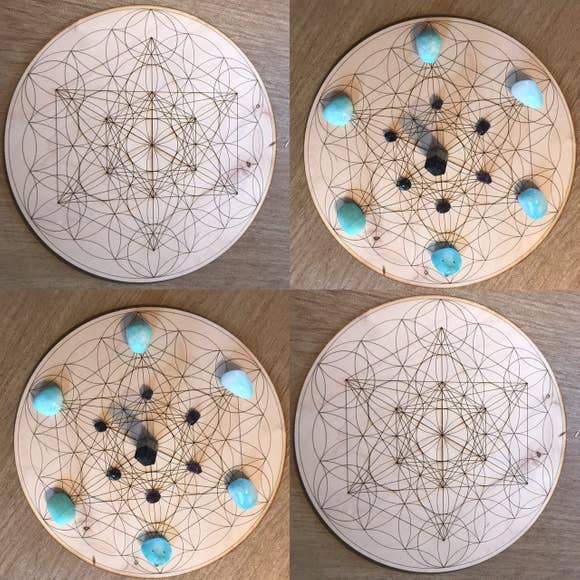 Metatron's Cube Flower of Life Crystal Grid, Birch Wood, 6in