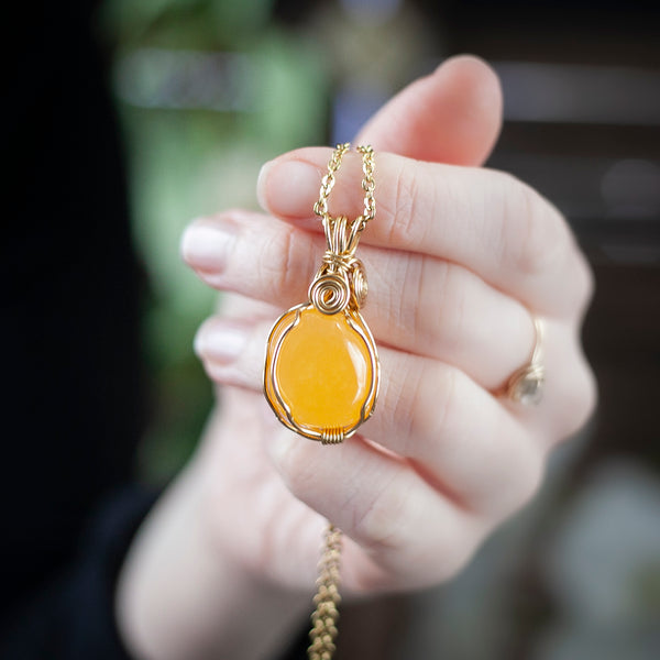 Sunny Orange Calcite Pendant Necklace, Brass, 22 Inch