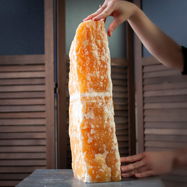 Giant Orange Calcite Crystal, Raw Tower, 31lbs