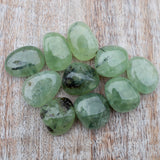 Epidote in Prehnite Tumbled Stone, 1in