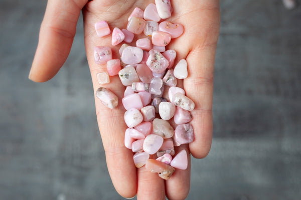 Pink Opal Stones | Small, Tumbled, Candy Pink Stones