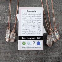 Danburite Meaning Card. Wonderful healing crystal jewelry gift for mom, sister or girl friend