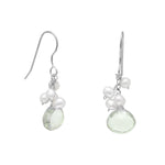Prasiolite Earrings with Freshwater Pearl