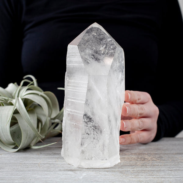 Large, Natural Clear Quartz Point, Standing