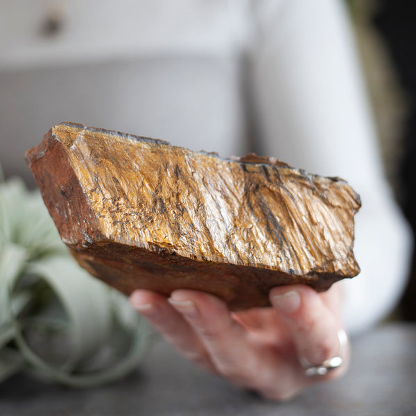 Raw Tiger's Eye Stone Slab, 1lb 12oz