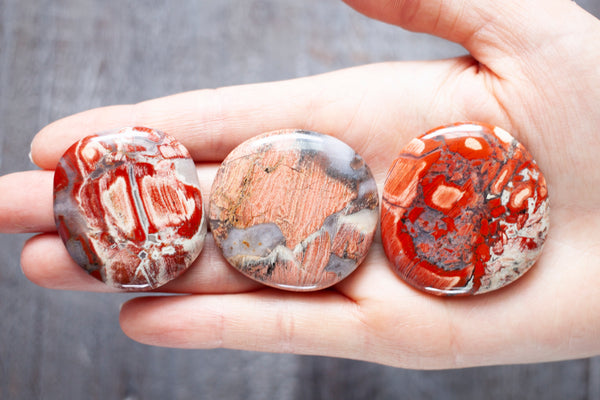 Red Jasper Palm Stone with Wild Patterns | Red Silver Leaf Jasper | 1.5in