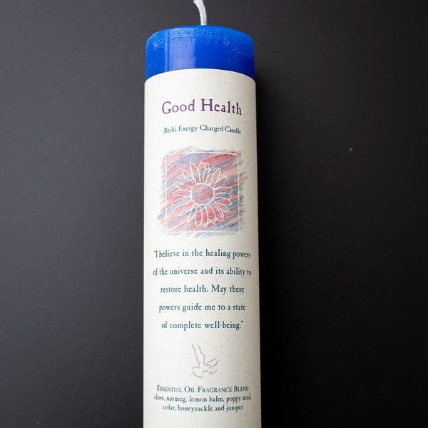 Good Health Reiki Pillar Candle, Clove, Nutmeg, Lemon Balm, Poppy Seed, Cedar, Honeysuckle, Juniper