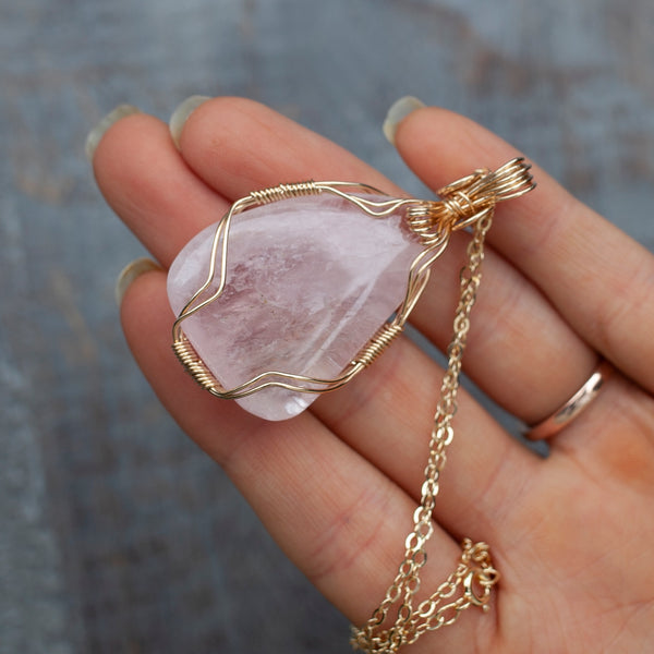 Natural Rose Quartz Pendant Necklace in 14k Gold Filled Wire Wrapping on 20in Gold Chain