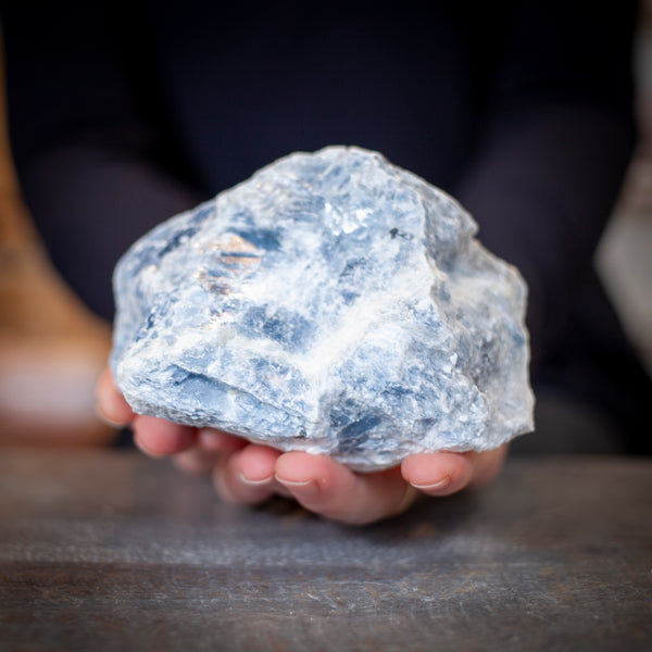 large blue calcite stone
