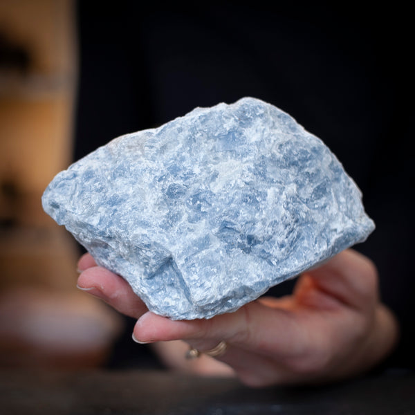 Rough Blue Calcite Stone, 1lb 7oz