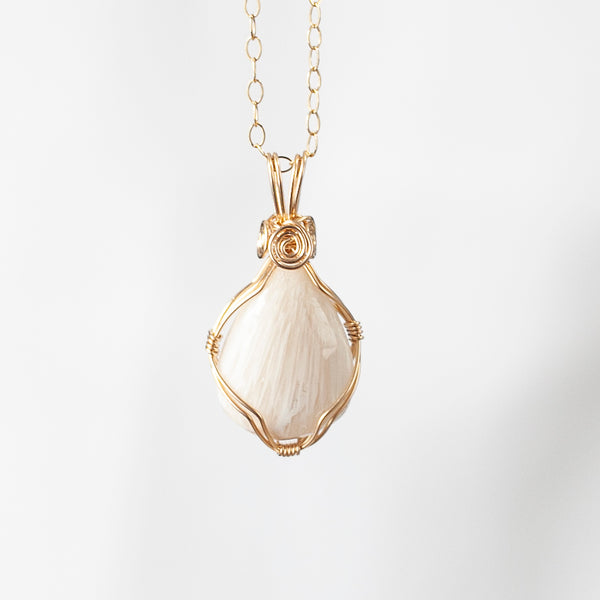 Scolecite Teardrop Pendant Necklace, 14k Gold Filled, 18in