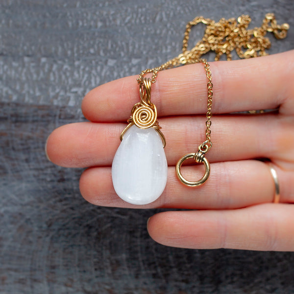 Selenite Pendant Necklace in Golden Brass