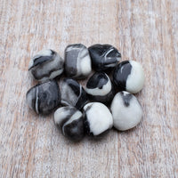 Shell Jasper Stone, Tumbled Black and White Jasper, 3/4in