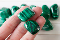 Malachite Stone | Small Tumbled and Polished Malachite, Green Stripes and Swirls