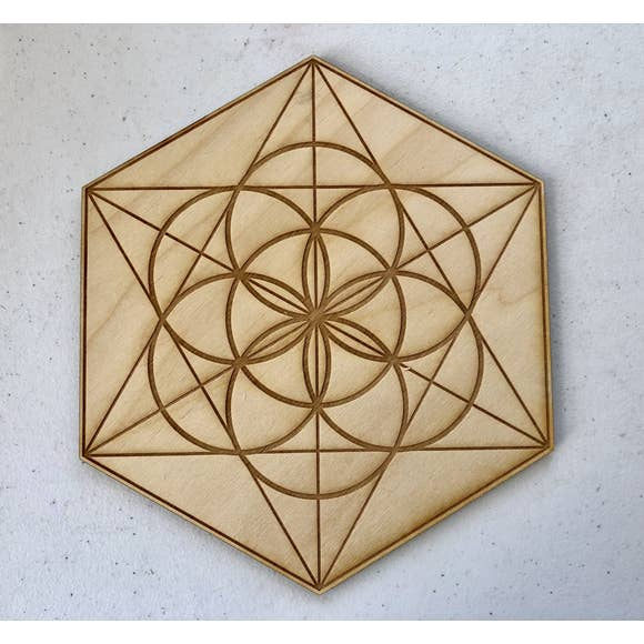 Seed of Life Crystal Grid, 6in Wooden Grid