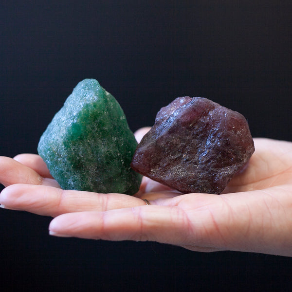 Cherry and Emerald Tanzurine Quartz Pair - Raw Tanzurine Crystals