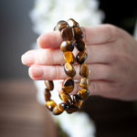 Tiger Eye Bracelet, Tumbled Stone Stretch Bracelet