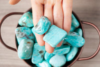 Large Tumbled Amazonite Stones, Vivid Turquoise color