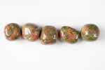 Large Unakite Stones. High-Quality, round, orange and green stones for the heart and sacral chakras,