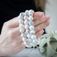 White Howlite Bead Bracelet, 10mm