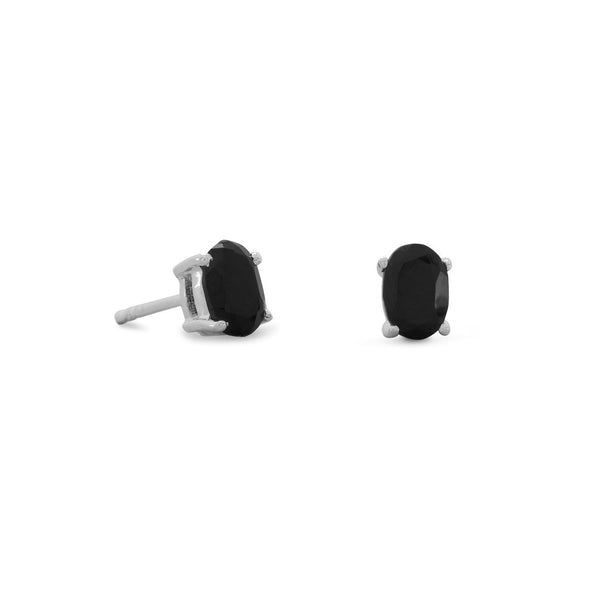 Black Onyx Stud Earrings, Sterling Silver