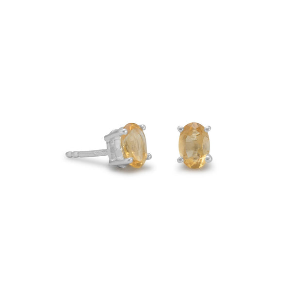 Citrine Stud Earrings, Sterling Silver
