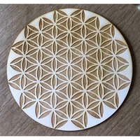 Flower of Life Crystal Grid, 10in Wooden Grid